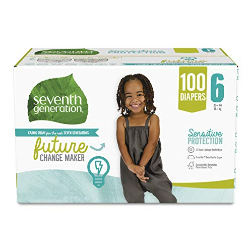 Seventh Generation Baby Diapers, Size 6, 100 count for Sensitive Skin (Packaging May Vary)
