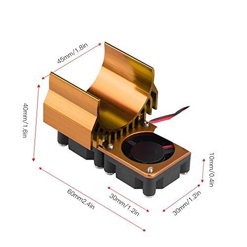 Dilwe RC-Motorkühler, 540/550-Motorkoppelkühlungs-Twin-Lüfter-Kühlkörper für 1/10 elektrische RC-Autos( Gold)