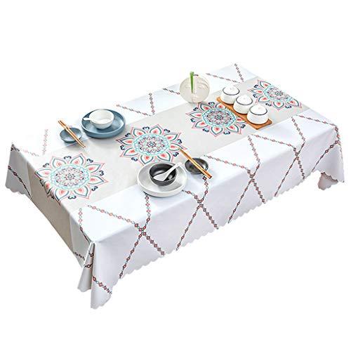 HAOXIANG Mantel Rectangular - Mantel De Plástico Blanco Impermeable, Cubierta De Mesa De PVC Resistente A Las Manchas A Prueba De Aceite para Fiesta Familiar De Navidad, Picnic,80x120cm/31x47inch