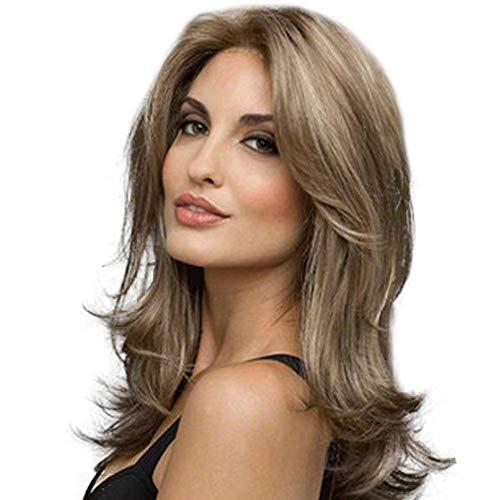 Momangel Mode Dégradé Perruque Rose Net Extension Postiche Femmes Vague Bouclés Cheveux Longs Jaune