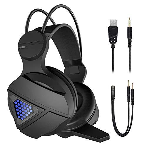 DZSF Llevó La Luz Auriculares De Juego del Juego De Auriculares para Ordenador PS4 sobre La Oreja Ajustable del...