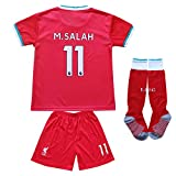 BIRD BOX 2020/2021 Liverpool Home #11 Mohamed Salah Football Soccer Kids Jersey Shorts Socks Set Youth Sizes (Red, 20/4-5 Years)
