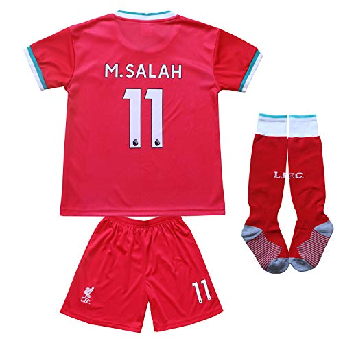 KID BOX 2020/2021 Liverpool Home Red #11 Mo Salah Football Soccer Kids Jersey Shorts Socks Set Youth Sizes (Red, 12-13 Years)