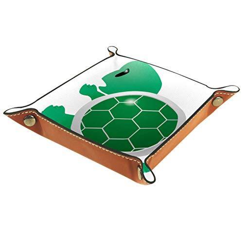 Bandeja de cuero para joyería Tortuga verde de dibujos animados Caja de almacenamiento Bandeja pequeña para collares Anillos y pendientes para mujer 16x16cm