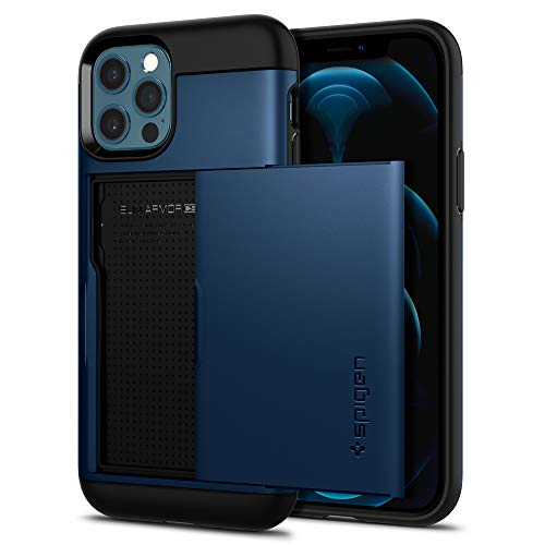 Spigen iPhone12 ケース iPhone12Pro ケース 6.1インチ 対応 スリム・アーマー CS 耐衝撃 携帯ケース 衝撃 吸収 ハード カバー 背面 スライド 式 カードケース MIL規格 落下防止 IC カード ポケット パスケース アイフォン12 ケース アイフォン12プロケース カバー ACS02297 (ネイビー・ブルー)