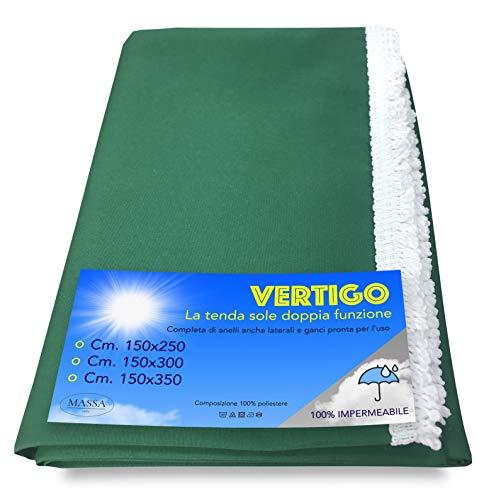 Tenda Sole Vertigo da Esterno Giardino Balcone Verde Unito Impermeabile e Idrorepellente - Cm. 150 x 300