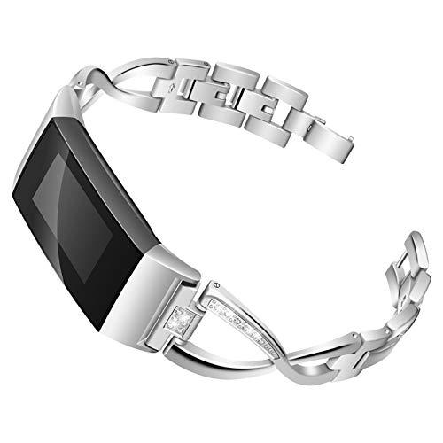XIALEY Correa Compatible con Fitbit Charge 3 / Fitbit Charge 4, Pulseras De Repuesto para Banda De Diamantes De Imitación con Brazalete De Metal Deportivo Mujer para Charge 4 / Charge 3,Plata