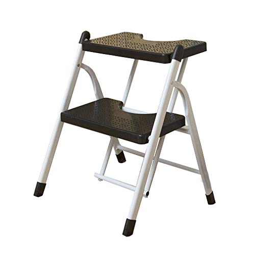 LLCY Klapptritt 2-stückleiter-Hocker-Falten-tragbarer schwarzer Fußhocker mit Anti-Rutsch-Matte für Wohnsitz-Lagergewicht: 100kg Treppenleiter