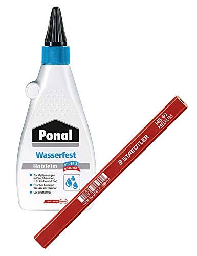 Ponal Holzleim für wasserfeste Montage-, Fugen- und Flächenverleimungen, Spar-Set mit 550g Holzleim und einem hochwertigen Zimmermans-Bleistift, 9HPN10SP1X
