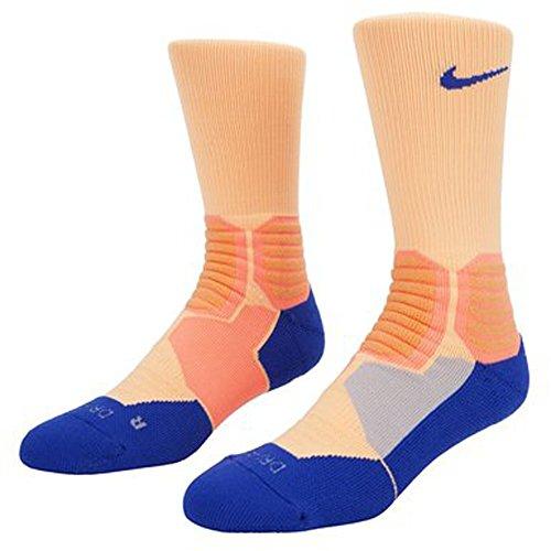 Nike Men's Hyper Elite Basketball Crew Socks Peach/Royal SX4801-824 (L 8-12)