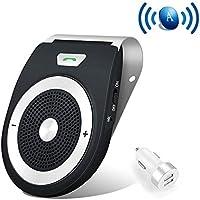 Bluetooth Manos Libres Coche Kit Auto Power ON con Sensor de Movimiento Integrado, reducción de Eco y Ruido de Fondo para la Visera GPS y música Al Mismo Tiempo conectar Dos teléfonos