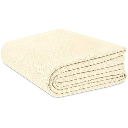 COTTON CRAFT - Super Soft Premium Cotton Herringbone Twill Thermal Blanket - King Ivory