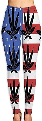 MODORSAN Leggings Estampados en 3D para Mujer de Hoja de Hierba de Marihuana Americana, Mallas elásticas Suaves de Entrenamiento de Yoga para Correr, Mallas elásticas con Estampado Suave-L