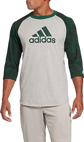 adidas Men's Triple Stripe Printed ¾ Sleeve Baseball Shirt (Green Twist Camo Logo, Small)