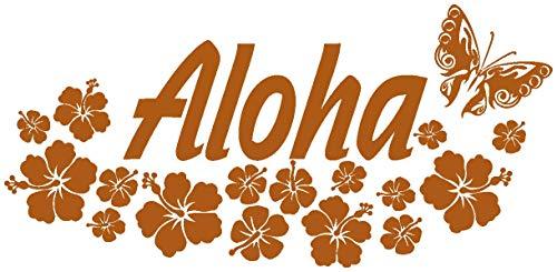 Samunshi® Wandtattoo Hibiskus Blüten Aloha in 8 Größen und 19 Farben (40x18,7cm haselnuss-braun)