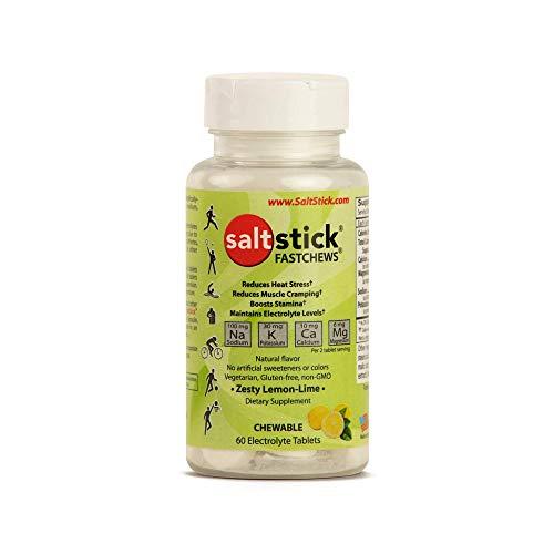 SaltStick Fastchews Lemon 60 Elektrolyt-Kautabletten mit Salz, Mineralstoffen (Natrium, Kalium, Calcium, Magnesium) und Kohlenhydraten, 99 g BOTTLELL03-2060 0