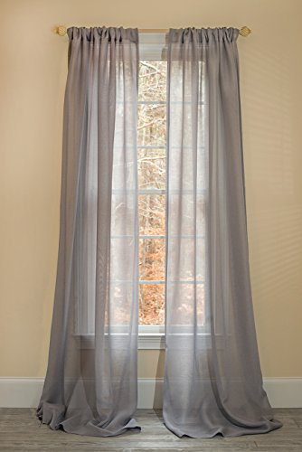 Manor Luxe Morning Mist Sheer Rod Pocket Window Curtain,Single Panel, 52 x 108
