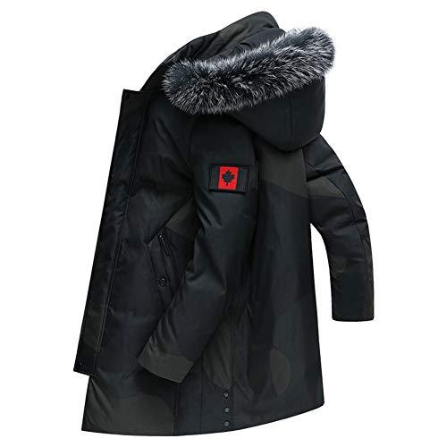 Herren Winter Outwear Pelzkragen Warmer Daunenmantel Mit Kapuze Outwear Langer Parka,190/3XL