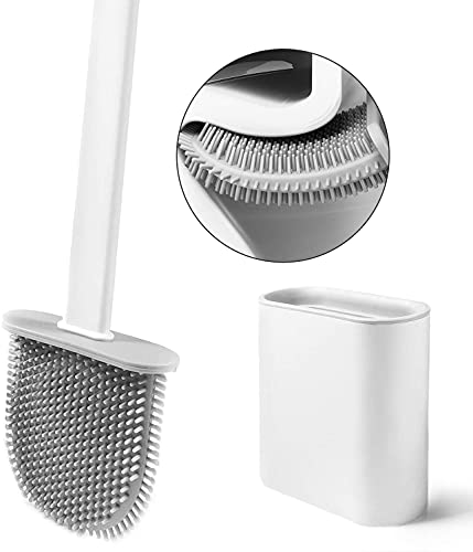 Silicone Flex Toilet Brush,Toilet Cleaning System, Wall Toilet Wand No-Slip Long Handle Soft Silicone Bristle Clean Toilet Corner Easily,Wall Mounting (White)
