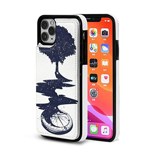 iPhone 11 Pro max Wallet Case with Credit Card Slot Holder Flip Pu Leather Protection Magical Tree Tattoo Art River Stars iPhone 11 Case Double Magnetic Buckle Closure for iPhone 11/iPhone 11 Pro/IP