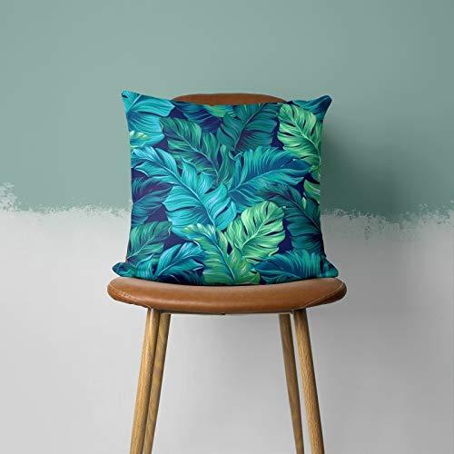PPMP Funda de cojín Azul Verde Hoja Pluma geométrica en Forma de corazón sofá Funda de Almohada Dormitorio decoración del hogar Funda de cojín A6 45x45cm 1pc