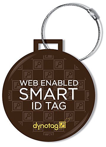 Dynotag Web Enabled Smart Deluxe Steel Luggage ID Tag & Braided Steel Loop, with DynoIQ & Lifetime Recovery Service
