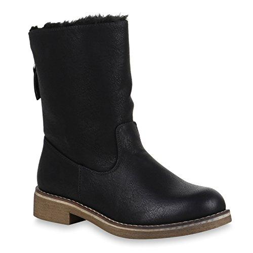 Damen Schuhe Stiefeletten Warm Gefütterte Schlupfstiefel Zipper Stiefel 147984 Schwarz Brito 36 Flandell