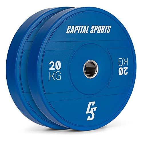 CapitalSports Nipton 2021 - Discos de Peso  Goma Dura  Anillo Interior de Acero  Apertura de 50 4 mm  Color según Normas olímpicas  2 x 20 Kg  Azúl