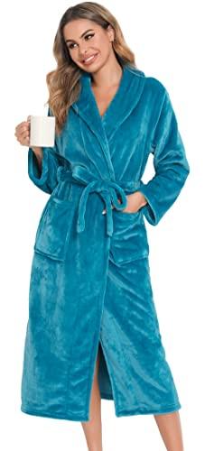 Vlazom Albornoz Mujer y Hombre/Albornoz de Unisexo para Largo Pijama Kimono , Albornoz Suave y Cómodo Albornoz de Felpa con Capucha,XL,D-azul pavo real