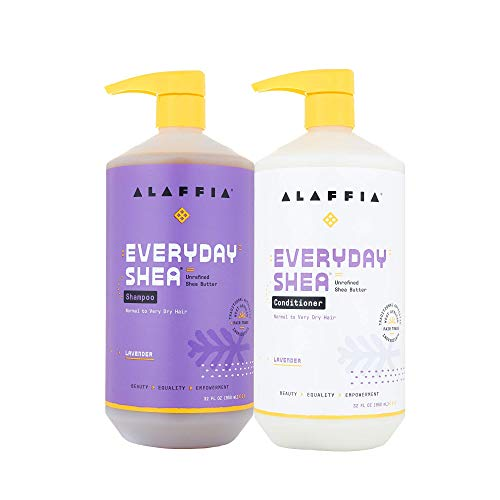 Alaffia - EveryDay Shea Shampoo & Conditioner Set, Normal to Very Dry Hair, Cleans and Protects without Stripping Natural Oils with Shea Butter, Coconut and Lavender Oils, Fair Trade, Lavender, 32 oz