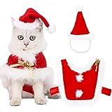 Legendog Ropa para Gatos, Disfraz de Navidad para Gato Traje de Gato con Gorro de Santa Claus Disfraz de Papá Noel Lindo Divertido de Fiesta de Navidad Ropa para Mascotas