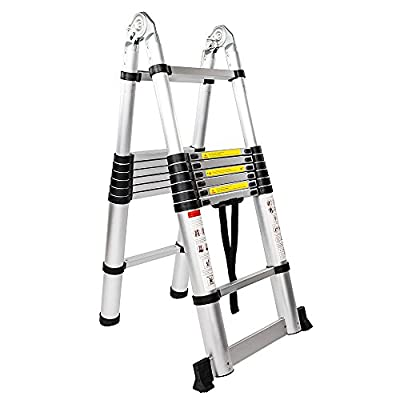 Aluminum Stretchable Ladder 16-Step Dual Joints...
