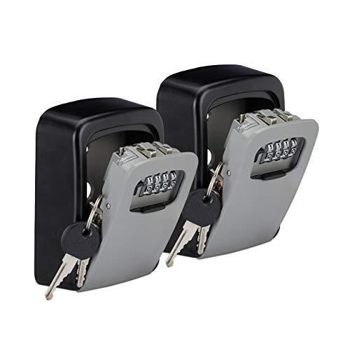 Relaxdays 2 x Schlüsseltresor, 4-stelliger Zahlencode, Schlüsselsafe zur Wandmontage, außen, HxBxT 11,5x9x4 cm, schwarz/grau