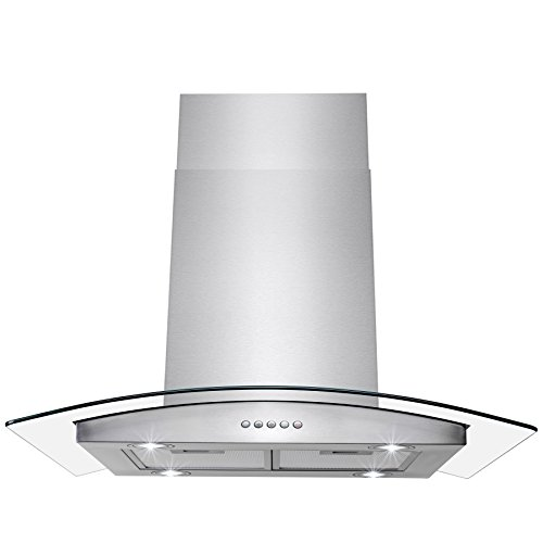 AKDY 30' Stainless Steel Island Mount Range Hood With Tempered Glass, Push Button Control and Carbon...