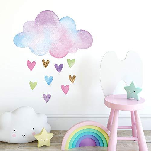 Stickerscape Aquarell Wolke und Herzen Wandtattoo | Einhorn Wandsticker | Kinderzimmer Dekor