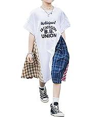 [ウェアビー]半袖 ワンピース チェックパターン チェック柄 カジュアル 英文字 ロゴ 子供 キッズ 100~160