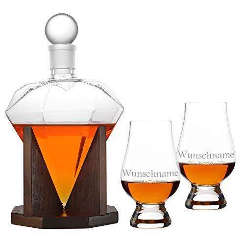Decanter in vetro con effetto polare, con 2 bicchieri da whisky Glencairn – Decanter Whisky – Glencairn – 1000 ml – personalizzabile con incisione laser