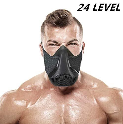 Training Mask Sport Vital Capacity Running 24/48 Breathing Resistance Levels Training Mask Fitness Mask High Altitude Running Resistance Breathing Oxygen Adult Mask (24 Klevels)