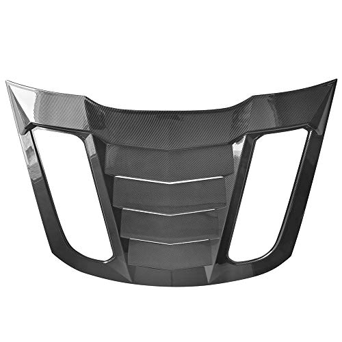 IKON MOTORSPORTS, Rear Window Louver Compatible With 2015-2020 Ford Mustang Coupe, Carbon Fiber Print Sun Shade Cover Windshield Scoop, 2016 2017 2018 2019