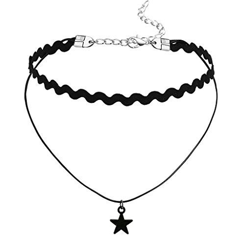 ANAZOZ Gotisch Elegant Frauen Schwarz Samt, Floral Spitze Stern Anhänger Satin Halsband Halsketten für Damen