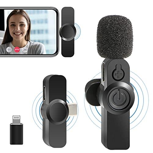 Mini Lavalier Mikrofon für iPhone/USB-C-Smartphone, Aufnahme von YouTube Facebook Live-Stream Vlog-Video-Interview Auto-Sync-Rauschunterdrückung Kabelloses Mikrofon (keine App/Bluetooth erforderlich)