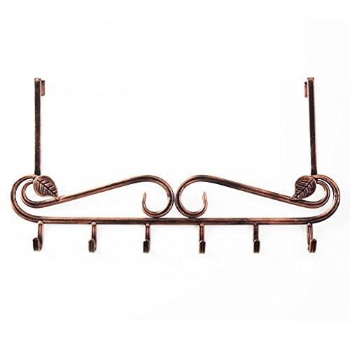 Baoyouni Türhängeleiste Türgarderobe über die Tür 6 Haken Organizer Rack Vintage Dekorative Metall Kleiderbügel Halter für Mantel, Handtücher, Robe, Geldbörsen, Kleidung