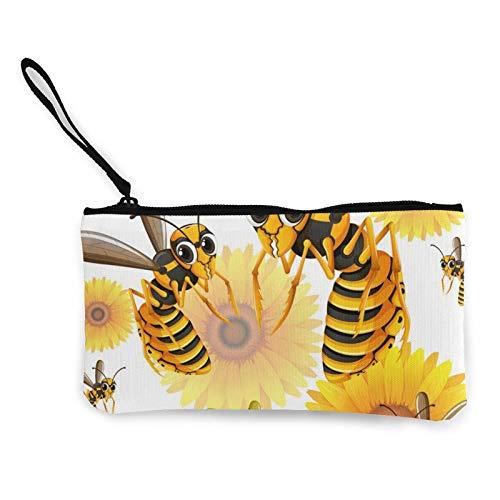 Geldbörse aus Segeltuch, mit Reißverschluss, multifunktional, mit Griff, Motiv: Wespen, Gelb