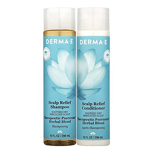 DERMA E Scalp Relief Shampoo and Conditioner Set – Irritated Scalp Shampoo (8oz) and Itchy Scalp Conditioner (8oz) with Psorzema Herbal Blend – Anti-Itch and Dandruff Relief Bundle