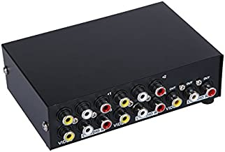 E-SDS 4-Way AV Switch RCA Switcher 4 in 1 Out Composite Video L/R Audio Selector Box for DVD STB Game Consoles