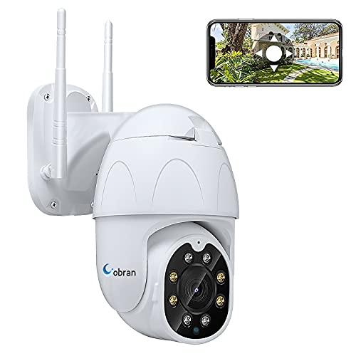 Cámara de Seguridad WiFi Exterior, 1080P Camara IP PTZ Vigilancia Exterior, Cámara de Vigilancia, Detector de Movimiento, 30m de visión Nocturna, IP65, soporta Tarjeta SD de 128G (sin incluir)