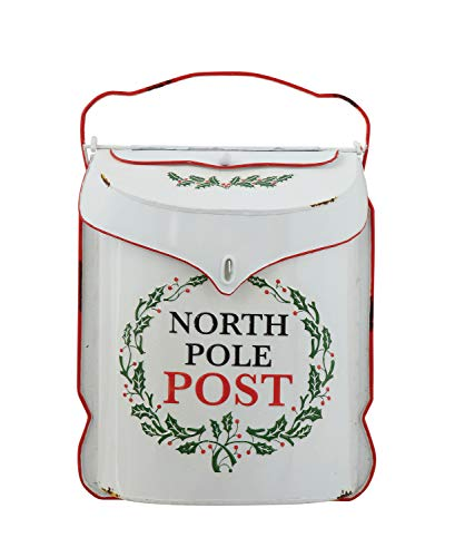 Creative Co-op XM3950 Embossed Tin North Pole Post Box Container, Multicolor