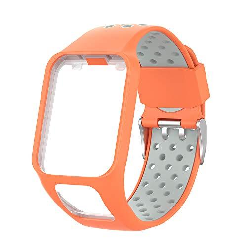 KINOEHOO Cinturino Compatibile con TOMTOM Runner 2/3 Cardio/Music Spark Cardio/Music Spark 3 Cinturini di Ricambio in Silicone.(Grigio arancio)