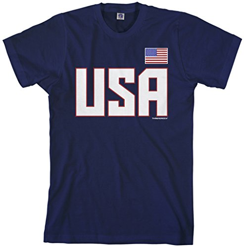 Threadrock Men's USA National Pride T-shirt M Navy