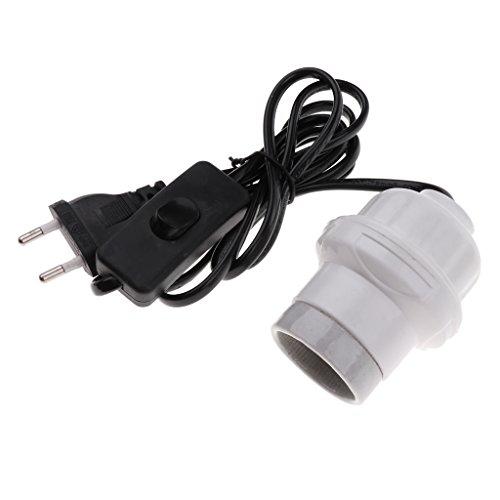 non-brand MagiDeal E27 Douille Ampoule à Interrupteur avec Câble en Céramique Support Base de Lampe pour Reptile Terrarium Prise EU